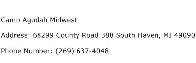 Camp Agudah Midwest Address Contact Number