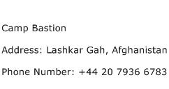 Camp Bastion Address Contact Number