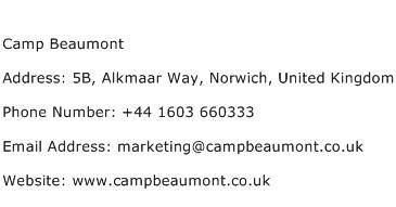 Camp Beaumont Address Contact Number