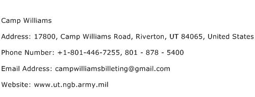 Camp Williams Address Contact Number