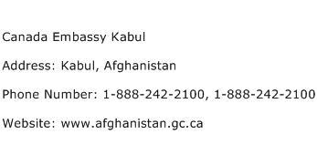 Canada Embassy Kabul Address Contact Number