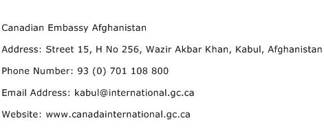 Canadian Embassy Afghanistan Address Contact Number
