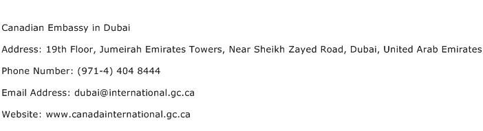 Canadian Embassy in Dubai Address Contact Number