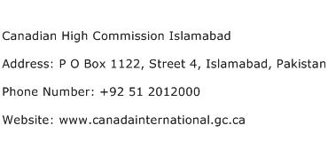 Canadian High Commission Islamabad Address Contact Number