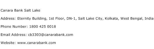 Canara Bank Salt Lake Address Contact Number