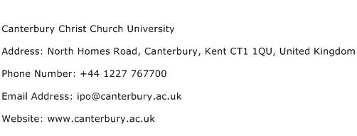 Canterbury Christ Church University Address Contact Number
