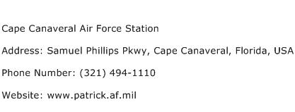 Cape Canaveral Air Force Station Address Contact Number