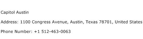 Capitol Austin Address Contact Number