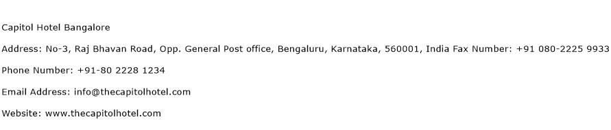 Capitol Hotel Bangalore Address Contact Number
