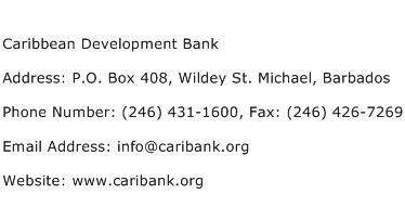 Caribbean Development Bank Address Contact Number