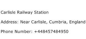 Carlisle Railway Station Address Contact Number