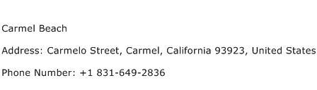 Carmel Beach Address Contact Number