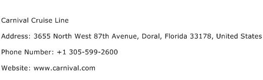 Carnival Cruise Line Address Contact Number