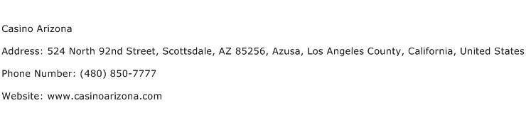 Casino Arizona Address Contact Number