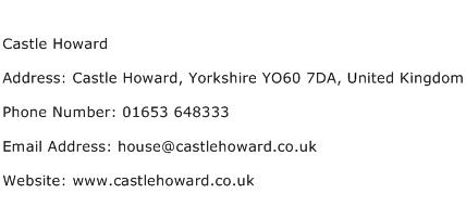 Castle Howard Address Contact Number