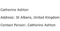 Catherine Ashton Address Contact Number