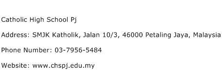 Catholic High School Pj Address Contact Number
