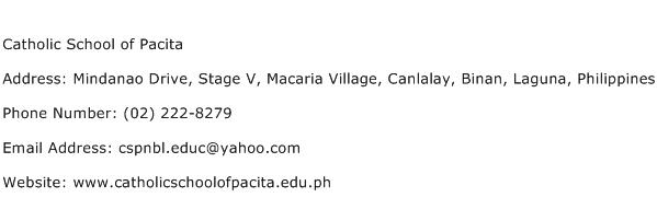 Catholic School of Pacita Address Contact Number