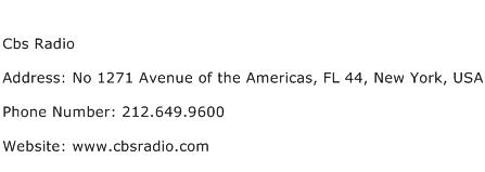 Cbs Radio Address Contact Number