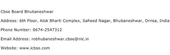 Cbse Board Bhubaneshwar Address Contact Number