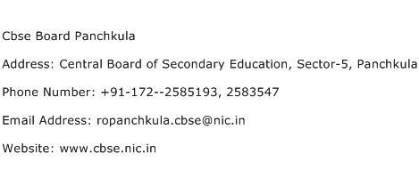 Cbse Board Panchkula Address Contact Number