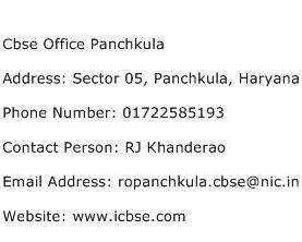 Cbse Office Panchkula Address Contact Number
