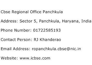 Cbse Regional Office Panchkula Address Contact Number