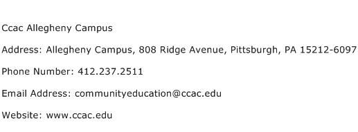 Ccac Allegheny Campus Address Contact Number