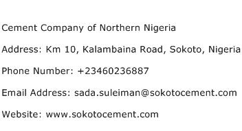 Cement Company of Northern Nigeria Address Contact Number