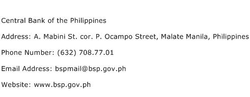 Central Bank of the Philippines Address Contact Number