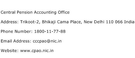 Central Pension Accounting Office Address Contact Number