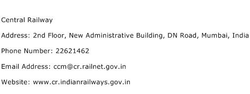 Central Railway Address Contact Number
