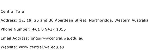 Central Tafe Address Contact Number