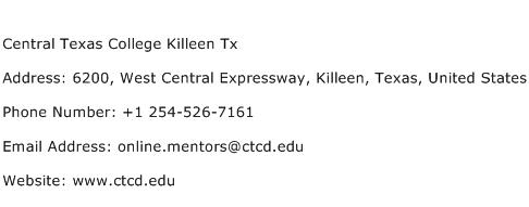 Central Texas College Killeen Tx Address Contact Number