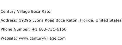 Century Village Boca Raton Address Contact Number