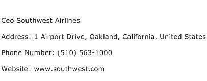 Ceo Southwest Airlines Address Contact Number