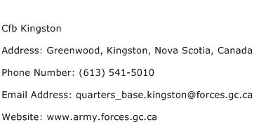 Cfb Kingston Address Contact Number