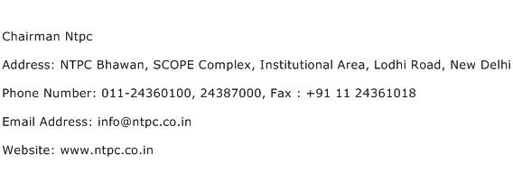 Chairman Ntpc Address Contact Number