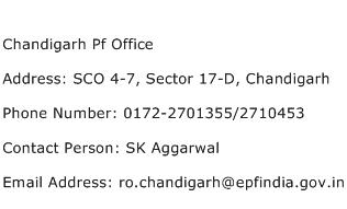 Chandigarh Pf Office Address Contact Number