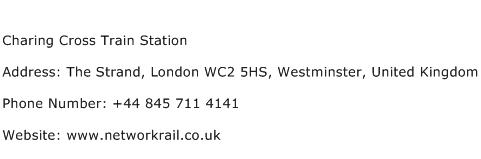 Charing Cross Train Station Address Contact Number