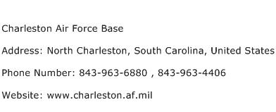 Charleston Air Force Base Address Contact Number