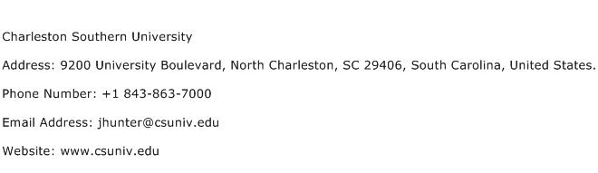Charleston Southern University Address Contact Number
