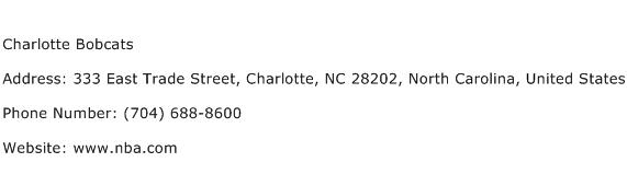 Charlotte Bobcats Address Contact Number
