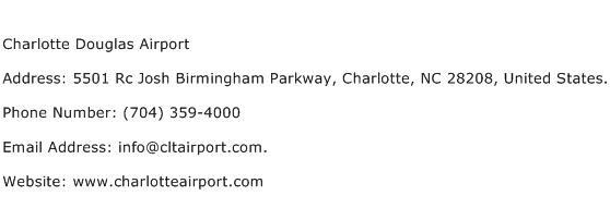 Charlotte Douglas Airport Address Contact Number