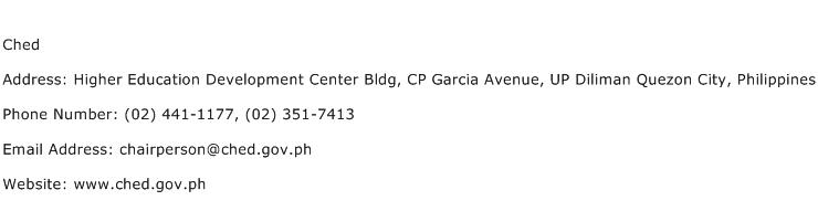 Ched Address Contact Number
