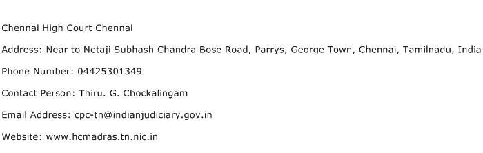 Chennai High Court Chennai Address Contact Number