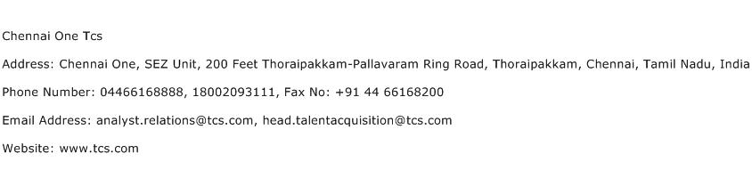 Chennai One Tcs Address Contact Number