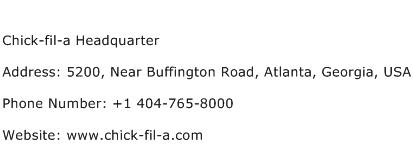 Chick fil a Headquarter Address Contact Number