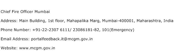Chief Fire Officer Mumbai Address Contact Number