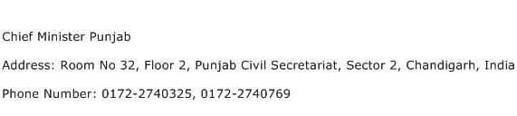 Chief Minister Punjab Address Contact Number